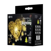 Emos karácsonyi dekoráció szívfüzér 16 LED 3m IP20 meleg fehér ZY1404