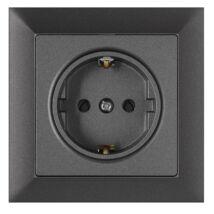 Premium 2p+f 1-es földelt dugalj keret nélkül grafit szürke Anco