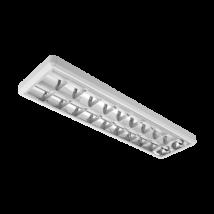 LED armatúra dupla parabola tükrös 2x18W falon kívüli LED fénycsővel 4000k (természetes fehér) 120cm / 2x36W - fénycsöves kiváltására/