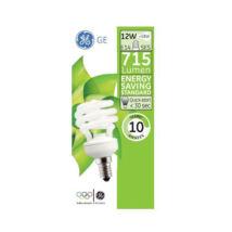 GE/Tungsram energiatakarékos spirál kompakt fénycső E14 12W 2700K meleg fehér 715 lumen