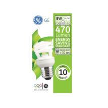 GE/Tungsram energiatakarékos spirál kompakt fénycső E27 8W 2700K meleg fehér 470 lumen