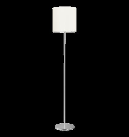 Eglo állólámpa 1x60W E27 húzókapcsolóval alu/fehér/textil Sendo 82813