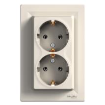 Asfora 2x2p+f  dupla dugalj süllyesztett csatlakozó aljzat / konnektor bézs Schneider
