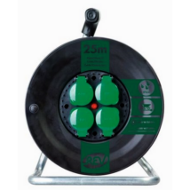 Düwi Műanyag kültéri kábeldob 25m vezetékkel 3x1,5 gumi kábel IP44 fém állvánnyal 4-es dugalj