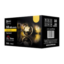 Emos klasszikus karácsonyi fényfüzér arany csengettyű 10LED 1,35m meleg fehér IP20 ZY1972