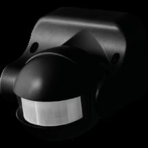 Mozgásérzékelő fekete 180° látószögű 12m távolság IP44 védettség függőlegesen állítható alkonykapcsolóval Greenlux GXSE004