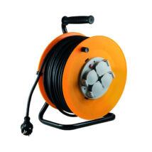 Somogyi kábeldob 30m 3x1,5 mm² gumi vezetékkel 4 földelt aljzat IP44 fém talp HJR 10-30