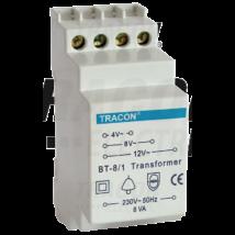 Sínre szerelhető csengő trafó - transzformátor BT-8/1 230V / 4-8-12V sínes reduktor
