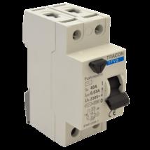 Tracon Fi relé 2P 40A/100mA AC érintésvédelmi relé áram védőkapcsoló TFV2-40100