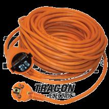 Tracon Földelt 10m  3x1,5mm2 H05VV-F fűnyíró lengő hosszabbitó 10m-es narancs 3680W UH10