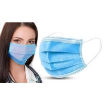 Háromrétegű egészségügyi, orvosi szájmaszk kék gumis KÉSZLETEN