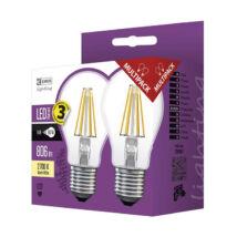 Emos filament led lámpa-izzó E27 6W 2700K meleg fehér 806 lumen Z74260.2 2db/csomag