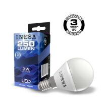 INESA (SYLVANIA) led lámpa-izzó kisgömb E14 3W 6500K hideg fehér 250 lumen (Utolsó darabok!)