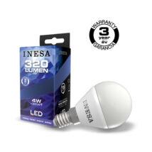 INESA (SYLVANIA) led lámpa-izzó kisgömb E14 4W 3000K meleg fehér 320 lumen (Utolsó darabok!)