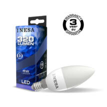 INESA (SYLVANIA) led lámpa-izzó gyertya E14 4W 3000K meleg fehér 320 lumen 60297 (Utolsó darabok!)