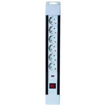 Somogyi Hálózati elosztó kapcsolós 6 aljzat túlfeszültség védelem 2m 3 x 1,5 mm² fehér NVP 03K/WH