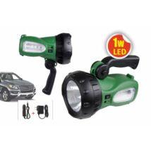Újratölthető 1W szuperfényes LED kézi fényvető elemlámpa vállpánttal,autós akkumulátor töltő  TRIXLINE 2 Év Garancia