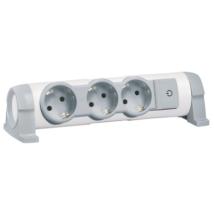 Legrand 3x2P+F Forgatható elosztósor hosszabító kábel nélkül felületre szerelhető, fehér-szürke 694624