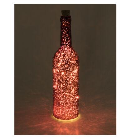 LED-es üvegpalack dekoráció, piros Somogyi