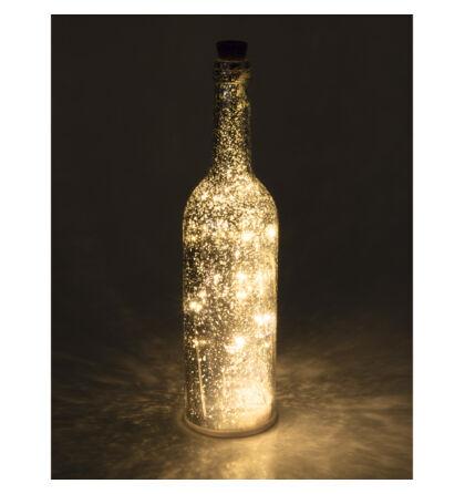 LED-es üvegpalack dekoráció, ezüst Somogyi