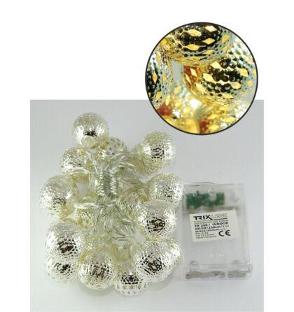 Karácsonyi LED fényfüzér 2,5m (250 cm) 20 LED 2700K meleg fehér Marókkói gömb Trixline TR 308