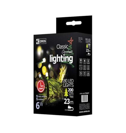 Emos karácsonyi fényfüzér időzítővel 180 LED 18m hideg fehér ZY0804T