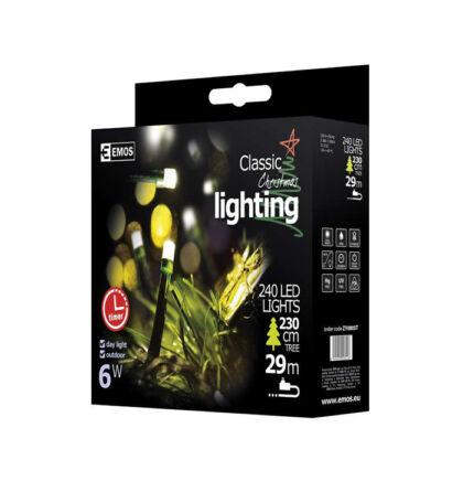 Emos karácsonyi fényfüzér időzítővel 240 LED 24m hideg fehér ZY0805T