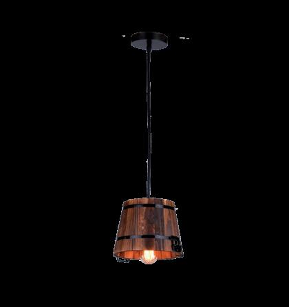 Elmark Pail mennyezeti dekor lámpatest függeszték 1xE27 fekete/fa 955PAIL1