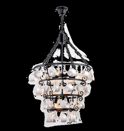 """Cups mennyezeti """"csésze"""" design csillár lámpatest 9XE14 (ELM)"""