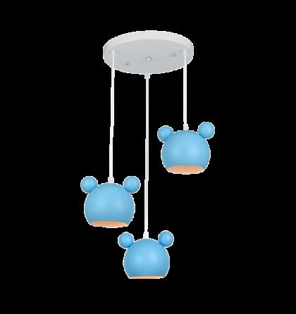 MICKEY kék gyermek csillár lámpatest 3XE14 955MICKEY3/B (Elm)
