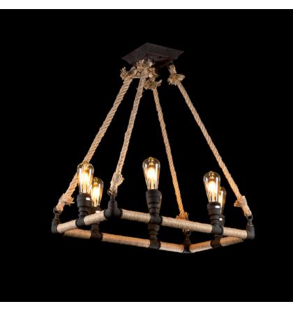 Elmark Rope vintage modern köteles rusztikus mennyezeti lámpatest 6XE27