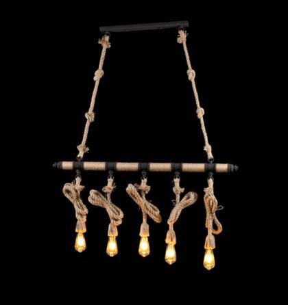 Rope vintage modern köteles rusztikus mennyezeti lámpatest 5XE27 Elmark