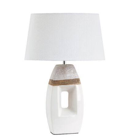 Leah modern asztali lámpatest barna/fehér E27 Rábalux 4387