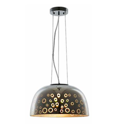 3D Üveg mennyezeti függeszték E27 kerek króm lámpa D400
