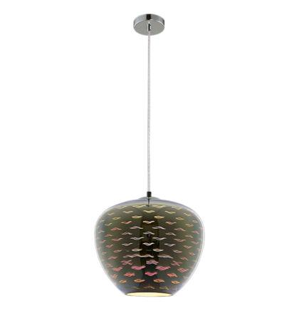 3D Üveg mennyezeti függeszték E27 sirály króm lámpa D290