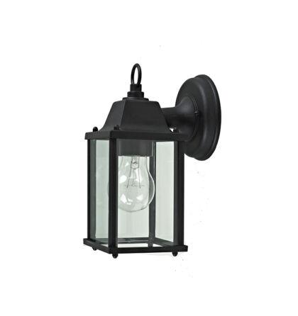 Balaton kültéri falikar lefelé álló lámpatest alumínium üveg búra E27 fekete IP23 (ANCO)