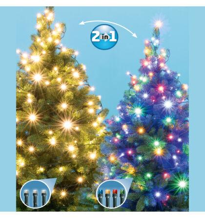 LED-es DUAL COLOR fényfüzér 200 db melegfehér/színes LED 14 m Somogyi