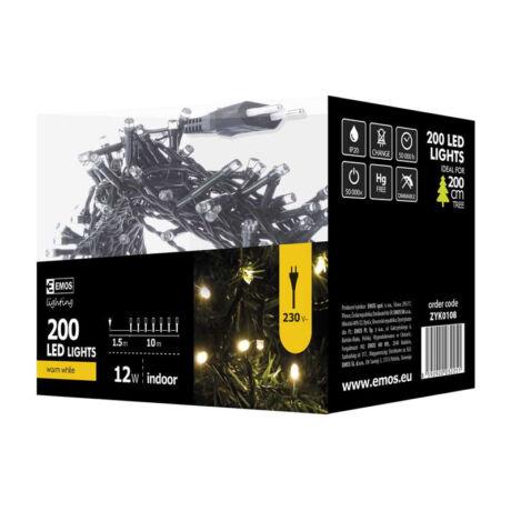 Emos klasszikus karácsonyi fényfüzér 200LED 12W 10m meleg fehér IP20 ZYK0108