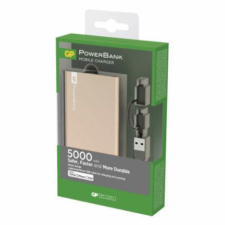 GP power bank FP05MA 5000 arany + Apple csatlakozó B0391AG