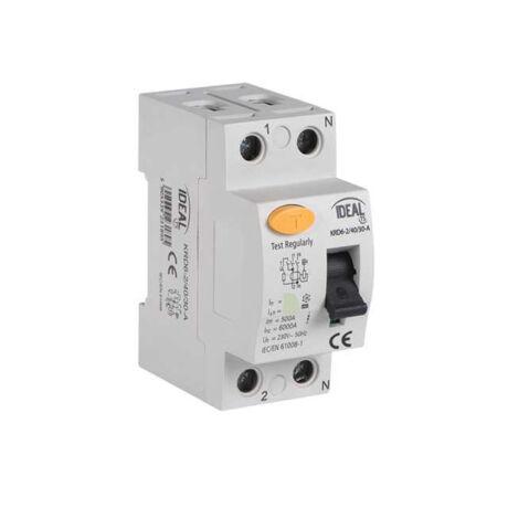 Kanlux Fi relé 2P 40A/30mA AC érintésvédelmi relé áram-védőkapcsoló KRD6-2/40/30