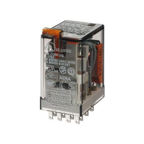 Finder miniatűr relé 24VDC 4morze 5A tesztgomb+állapot indikátor 55.34.9.024.0040