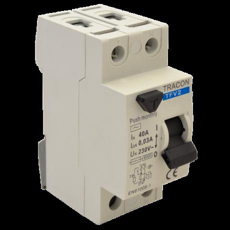 Tracon Fi relé 2P 16A/30mA AC érintésvédelmi relé áram védőkapcsoló TFV2-16030