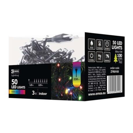 Emos klasszikus karácsonyi fényfüzér 2,5m 50LED színes IP20 ZYK0103