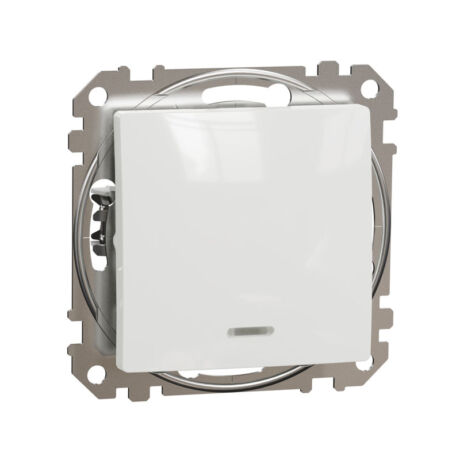 Schneider Sedna Design 101 egypólusú kapcsoló kék jelzőfénnyel keret nélkül fehér SDD111101L