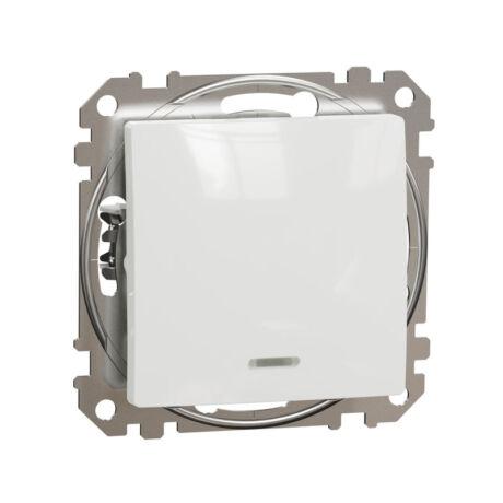 Schneider Sedna Design 101 egypólusú kapcsoló piros ellenőrzőfénnyel keret nélkül fehér SDD111101N