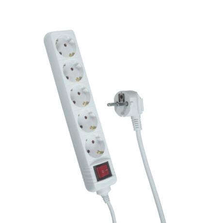 Trixline 5-ös HK5 3m asztali hálózati elosztó hosszabbító kapcsolóval H05VV-F3G 1mm2 TR 811 S