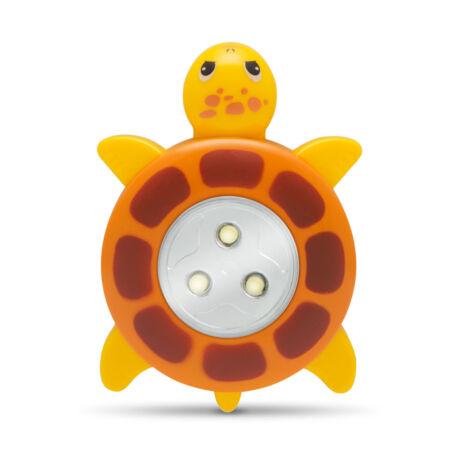 LED éjszakai irányfény nyomógombos lámpa teknős sárga 20273B