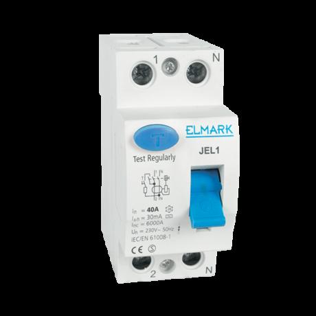 Elmark Fi relé  JEL1 2P 20A/30mA AC érintésvédelmi relé áram védőkapcsoló 40292