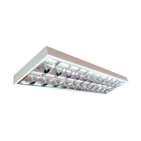 2x18W LED Dupla parabolatükrös  120cm falon kívüli armatúra természetes fehér led fénycsővel 4300lm lámpatest 5évgarancia