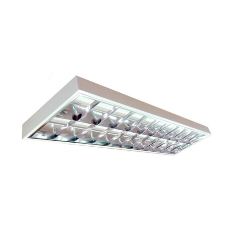 2x18W LED Dupla parabolatükrös 120cm falon kívüli armatúra hideg fehér led fénycsővel 4300lm lámpatest 5évgarancia